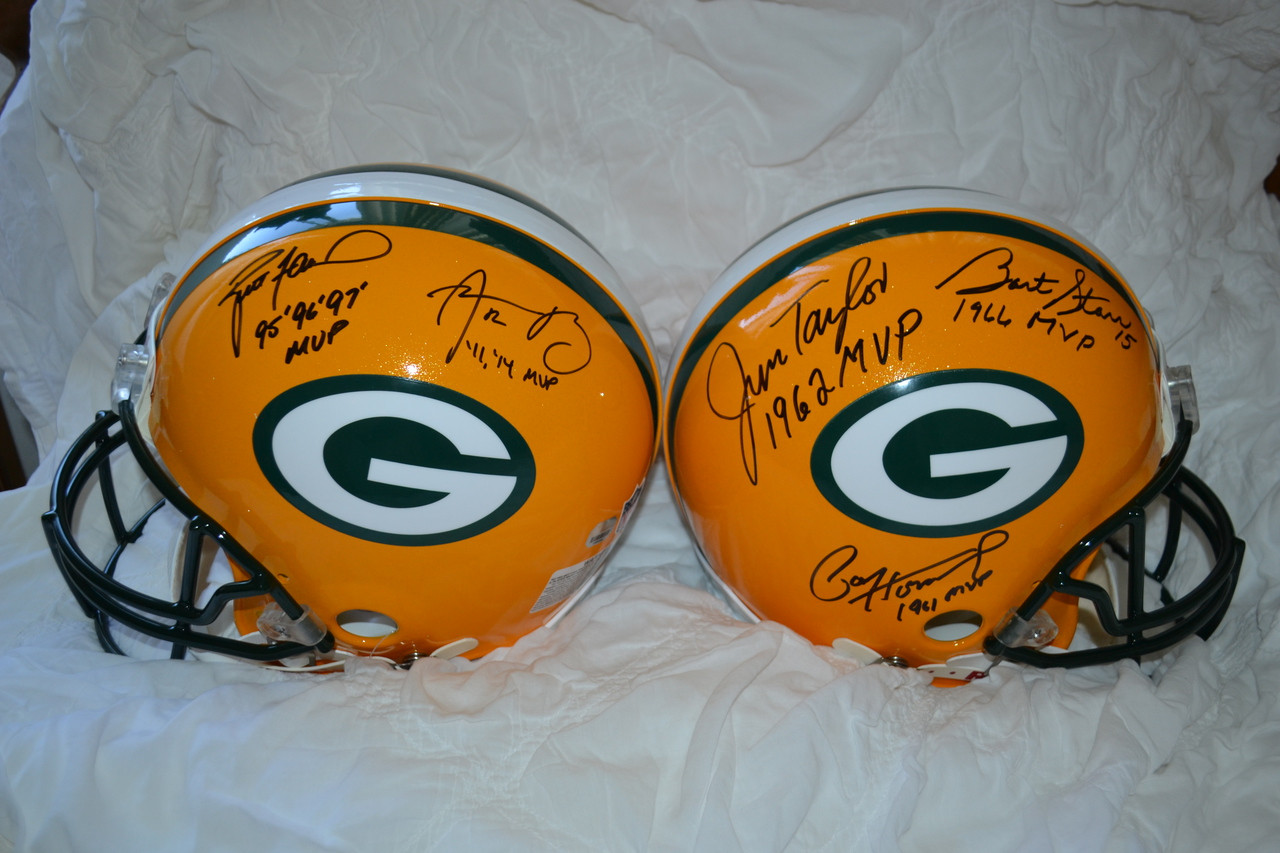 Limited Time Super Discount The 5mvp Signed Green Bay Packers Proline Helmet Signed By Paul Hornung Jim Taylor Bart Starr Brett Favre And Aaron Rodgers Packer Greats