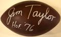 Jim Taylor Autographed Official NFL Duke Football with HOF '76 Inscription