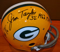 "*RARE* Jim Taylor Autographed Official Packer TK Suspension Helmet with unique, beautiful Double Inscription and ""#31"" (only 1 available)"