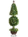 4-Foot Cone/Ball Shaped Ivy Topiary, with 864 Leaves, on Metal Stand with Finial