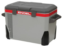 """Model: MR040F-U1 Volume: 40 Quart Cooler Power Consumption: Variable from 0.7- 2.5 Amps (12V DC) Power Source: 12V/24V DC / 110V AC Internal Dimensions: 14.5"""" x 10.5"""" x 14.4"""" External Dimensions: 25"""" x 15.5"""" x 18.5"""" (excludes hands = 1.5"""" each) Net Weight - 48 lbs Warranty Info: 2 Years"""