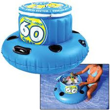 Take your party to the water with this 60 Quart cooler that will hold 48 cans of your favorite beverage. This inflatable cooler includes 4 cup holders, zippered lid and grommet for easy tie off. Relax with the beverage of your choice as you float along the peaceful water with our 60Q cooler trailing behind you.