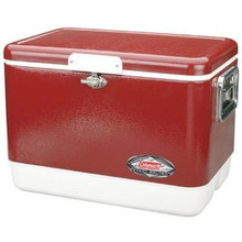 54 Quart Steel Belted Coleman Cooler - Red