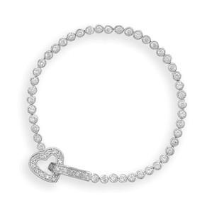 "7"" Rhodium Plated Bezel CZ Bracelet with CZ Heart Closure"