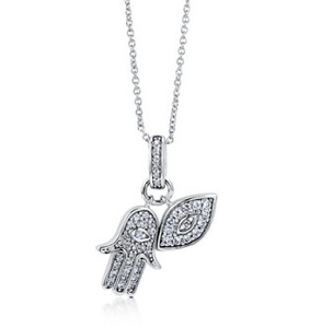 Hamsa and Eye CZ Sterling Silver Pendant Necklace