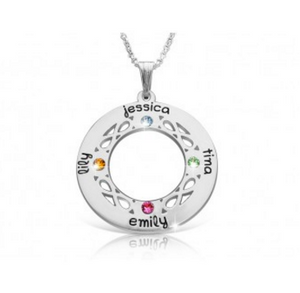 Family Circle Tree Of Life  Necklace with Birthstones