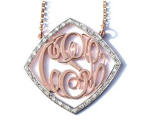 Solid Gold Diamond Shape Monogram Necklace with 1 1/2ct  Diamonds