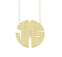 Solid 14k Gold Monica Monogram Necklace