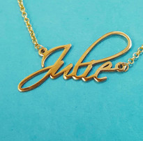 Personalized Free Hand Name Necklace Solid 14k Gold