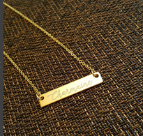 Boho Engraved Bar Necklace Personalized Custom Made