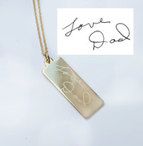 Signature Handwritten Engraved TAG Necklace