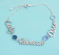 Everlasting Love Bracelet With Names And Birthstones.