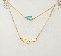 Custom Double Layer Name Necklace With Aquamarine Gemstone