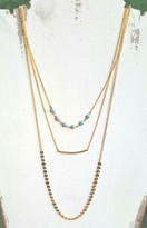 Pacifica Layering Set With Turquoise Beads And Bar Necklace