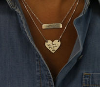 Deep Engraved Signature Handwritten Engraved Heart Necklace