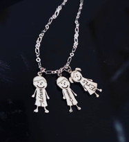 Family Figure Style Pendant  Charm Necklace