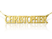 Yellow Gold Plated Name Necklace All Uppercase