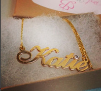 Carrie Gold Plated Name Necklace with Swarovski Element