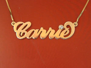 Carrie Name Necklace in Gold Plated with Swarovski Birthstone    BestNameNecklace
