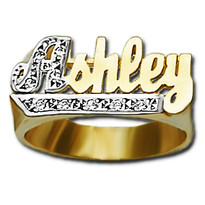 10 mm Diamond Name Ring Ashley Style