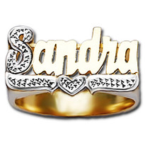 12 mm Diamond Name Ring Sandra Style