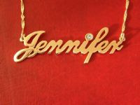 Jennifer Name Necklace with Swarovski Birthstone Crystal
