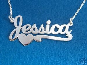 Jessica Name Necklace, Heart Name with Line, Custom Personalized Name, Necklace with Name, Name on chain