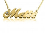Mette Gold Plated Name Necklace with Swarovski Element
