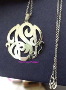 Monogram Necklace Interlocking Pendant Style