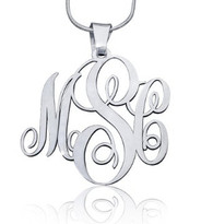 Monogram Pendant Necklace Script Style