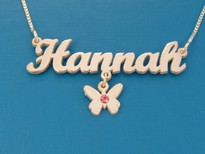 Hannah Butterfly Charm with Swarovski Crystal Name Necklace