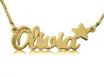 Olivia with Star Gold Plated Name Necklace