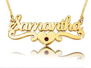 Samantha Gold Plated Name Necklace with Swarovski Element || BestNameNecklace