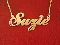 Suzie Name Necklace with Swarovski Birthstone Crystal