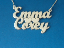Two Names or Couples Name Necklace with Heart