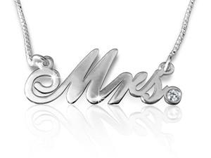 Mrs Cursive Name Necklace Silver