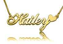 Hailey Gold Name Necklace with Heart