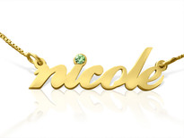All Lowercase Gold Plated Name Necklace with Swarovski Element