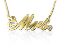 Mrs Cursive Gold Plated Name Necklace with Swarovski Element || BestNameNecklace