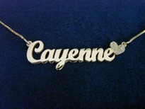 Cayenne Sparkling Heart Name Necklace Silver