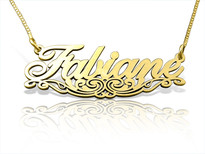 Fabiane with Motif Gold Plated Name Necklace