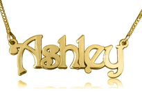 Ashley Swirly Print Gold Plated Name Necklace