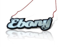 3D Acrylic Name Necklace Ebony Style