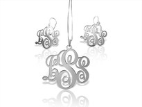 Set Earrings and Monogram Necklace