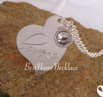 Tilted Engraved Heart Necklace