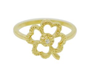 4 Four Leaf Clover Birthstone Ring