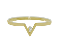 V Shape Birthstone Ring