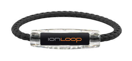 IonLoop Braided Black Sport Bracelet (front view)