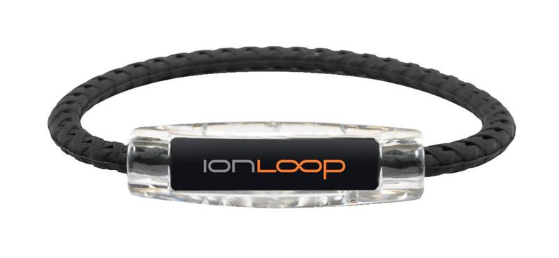 IonLoop Braided Black Sport Bracelet (front view)