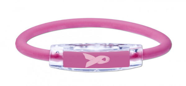 "The IonLoop Hot Pink ""Pink Ribbon"" Bracelet contains negative ions and magnets. For every Pink Ribbon Bracelet purchased on this website, IonLoop will donate $1 for breast cancer research. (front view)"